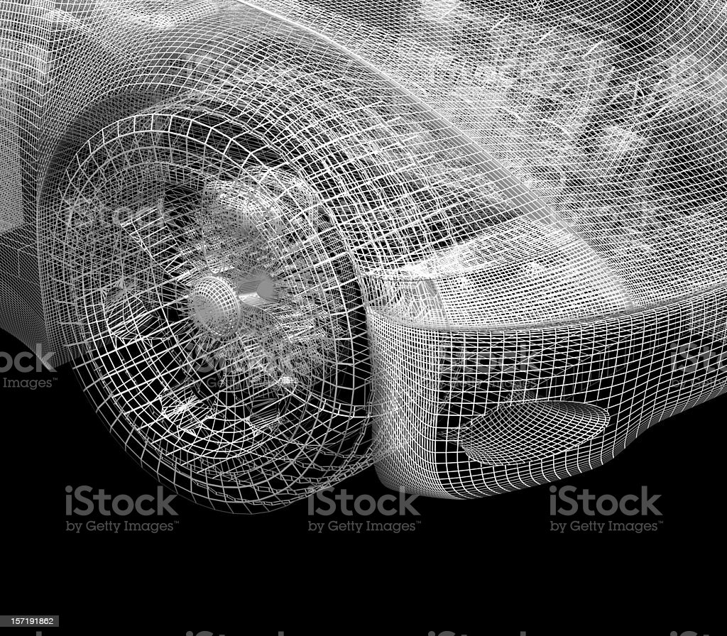 Car Frontend (wireframe) stock photo