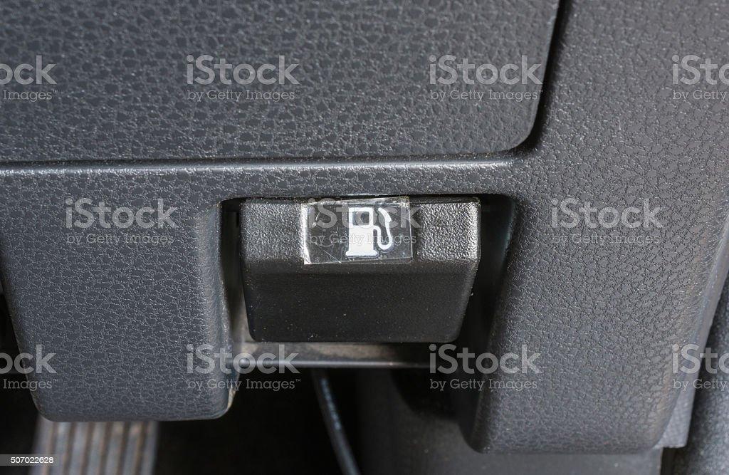 car fuel cap switch stock photo
