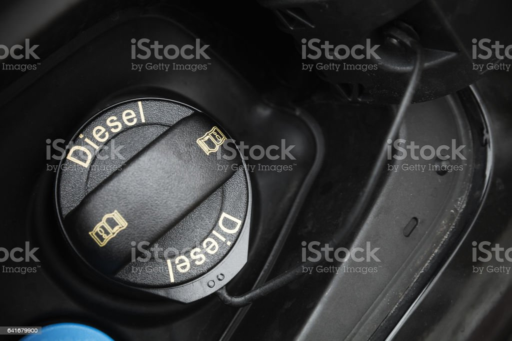 Car fuel cap with Diesel text marking stock photo