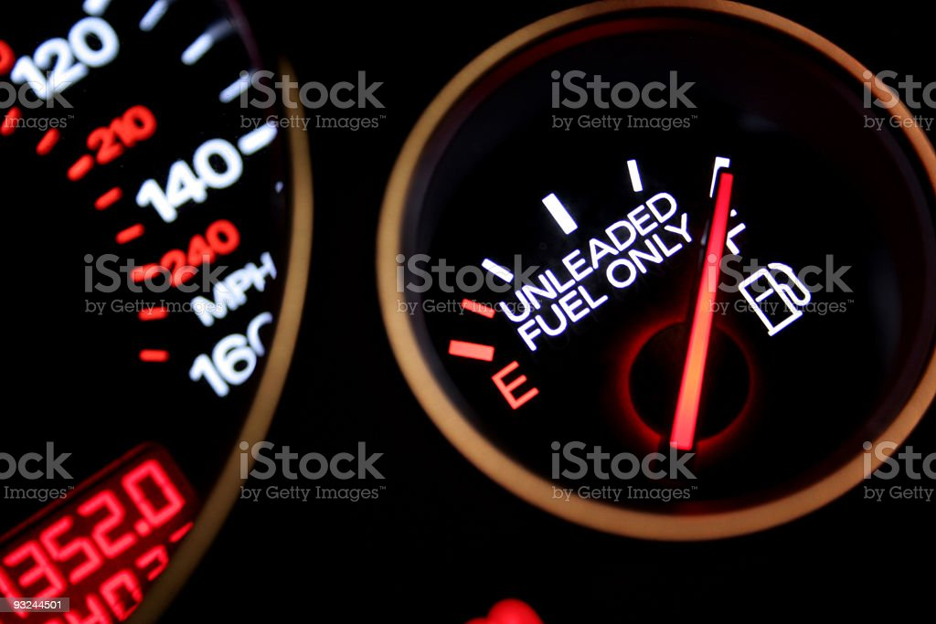 A car fuel gauge indicating full royalty-free stock photo