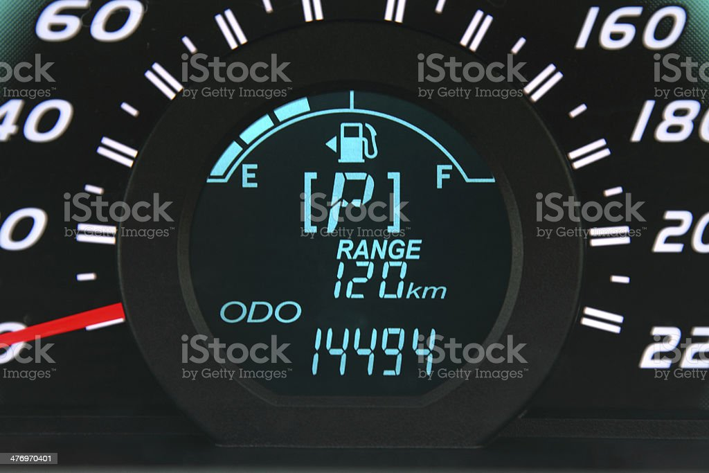 Car fuel gauge stock photo