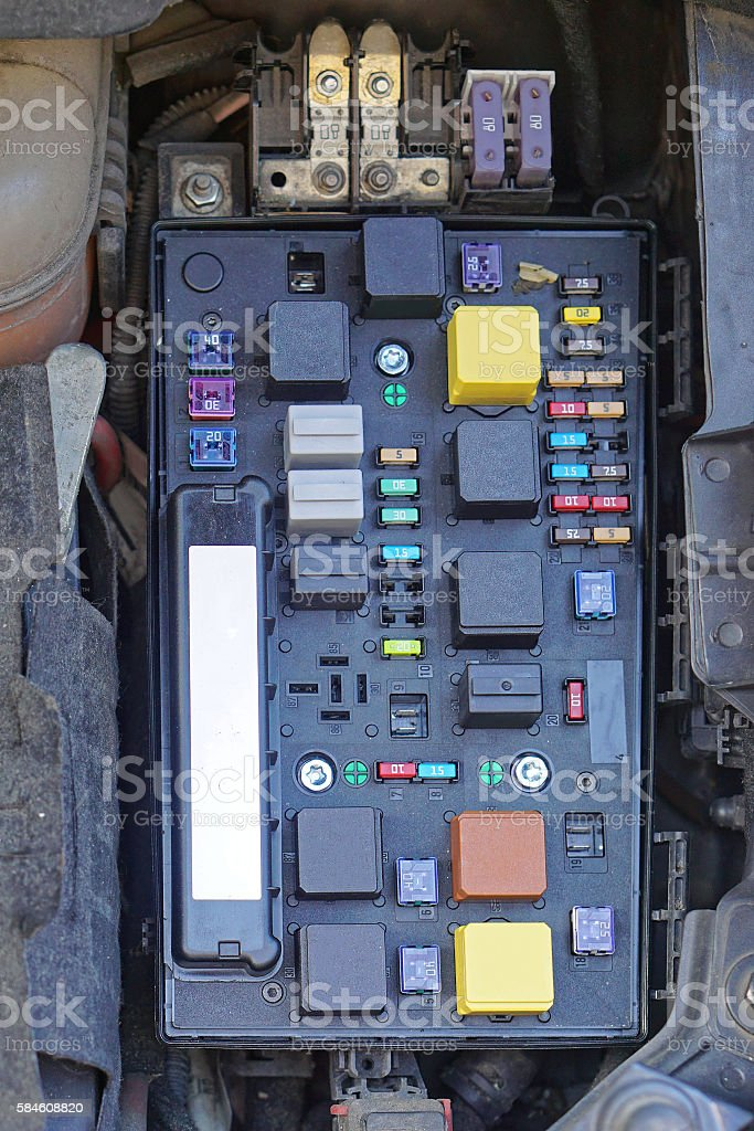 Car fuse box stock photo