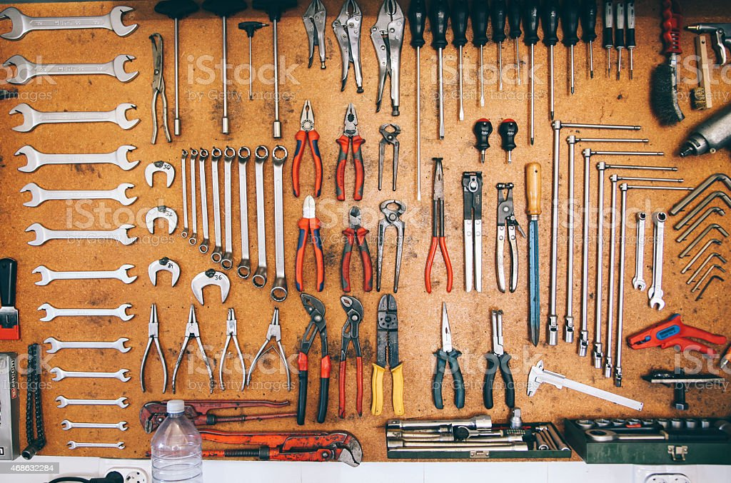 Car garage workshop stock photo