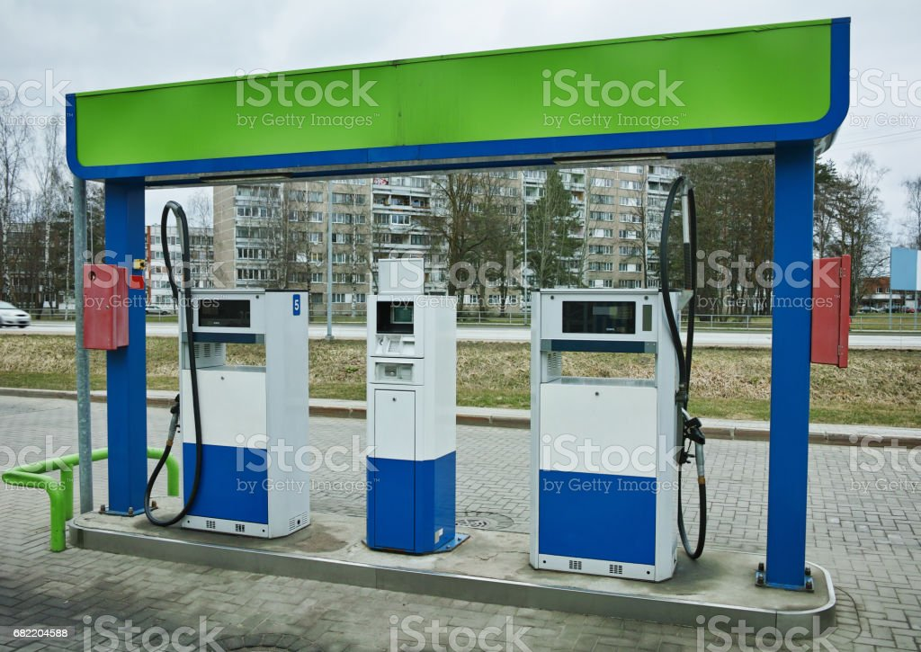 Car gas station close up stock photo