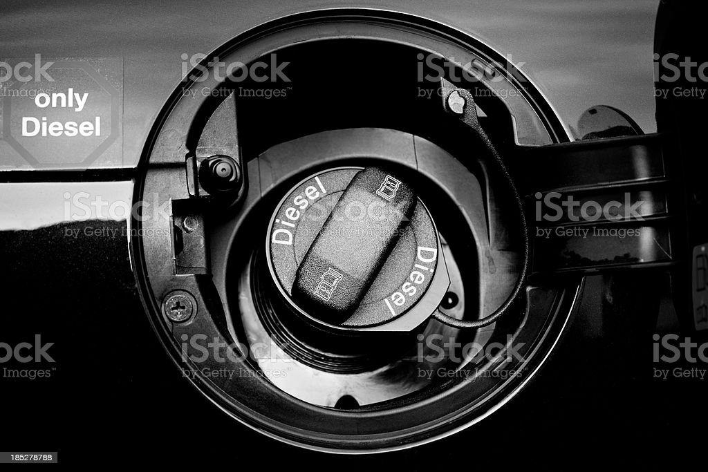 Car gasoline tank, Diesel only stock photo