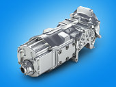 car gearbox isolated on gradient background.3D illustration.