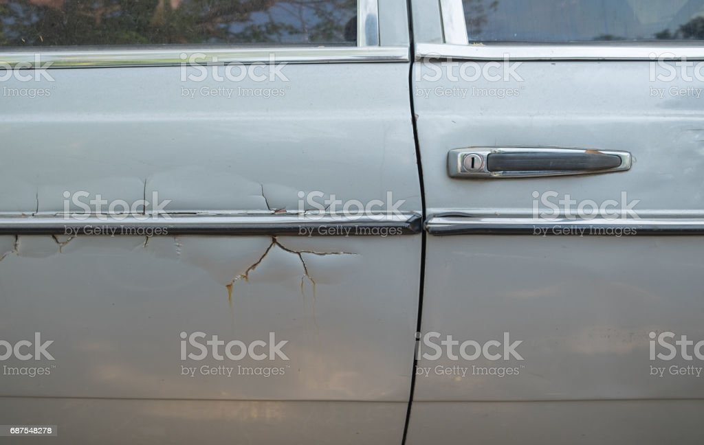 Car grey scratched and crash stock photo