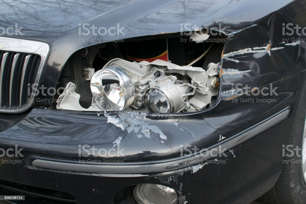 car headlight broken stock photo