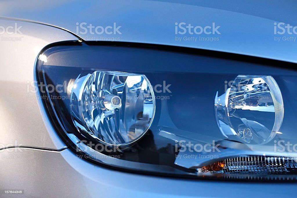 Car headlight close up stock photo