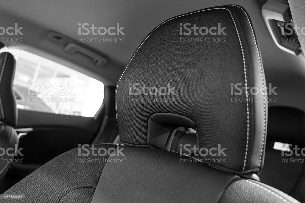 Car headrest close up stock photo