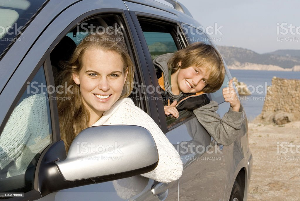 car hire or rental, family on vacation royalty-free stock photo