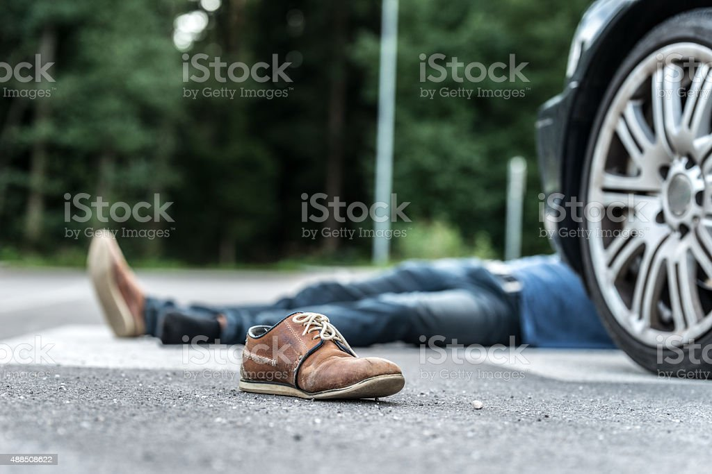 Car hit scene stock photo
