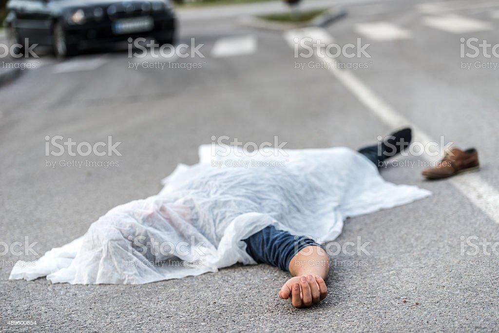 Car hit scene stock photo