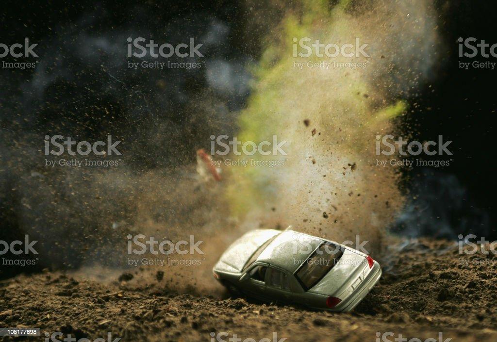 Car Hitting Landmine royalty-free stock photo