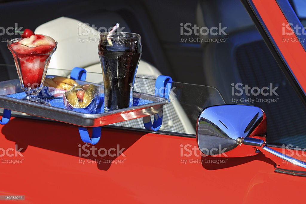 Car hop tray stock photo