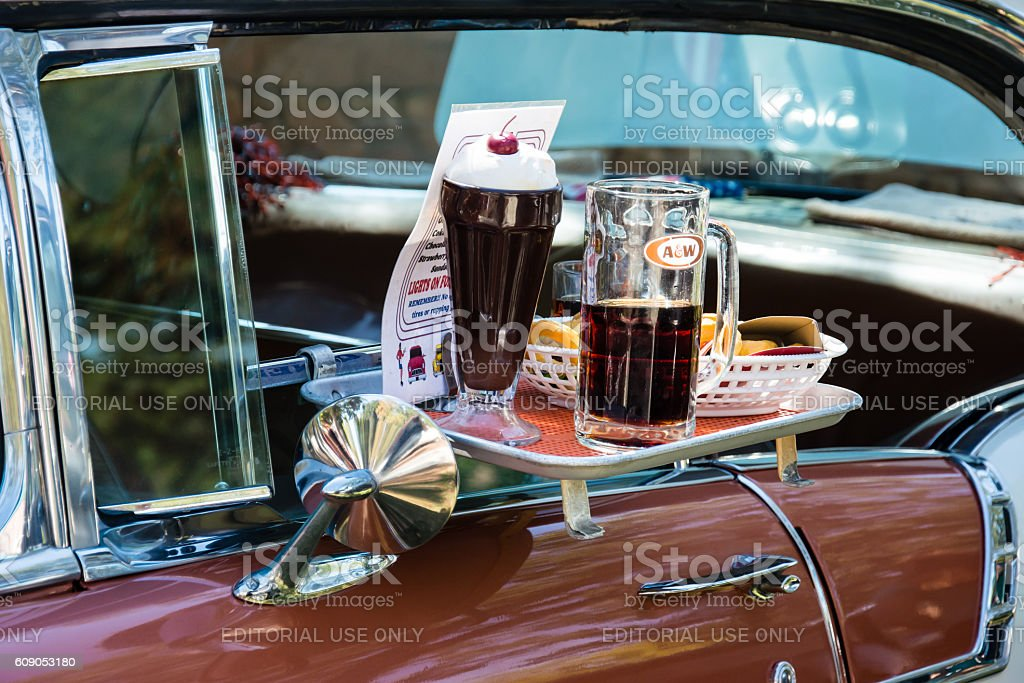 Car hop window tray on a 1956 Chevrolet stock photo