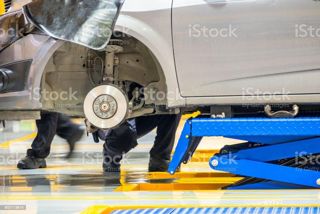 Car hub front lifting scissors blue stock photo