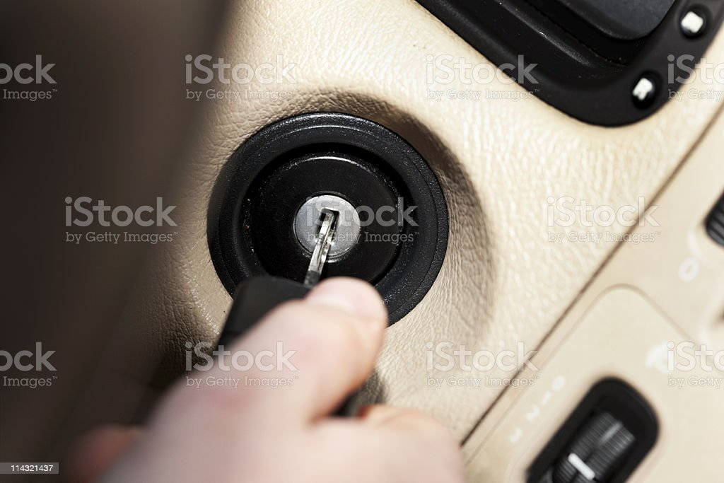 Car ignition switch stock photo
