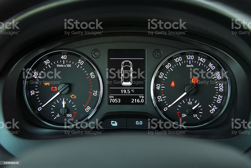 car illuminated dashboard stock photo