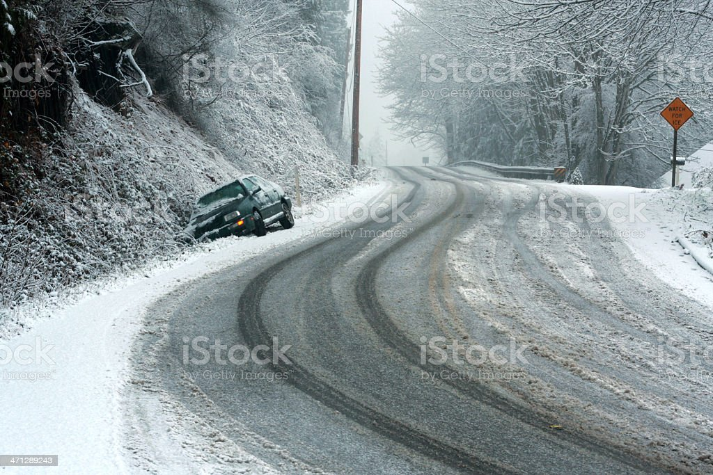 Car in a Snowy Ditch stock photo
