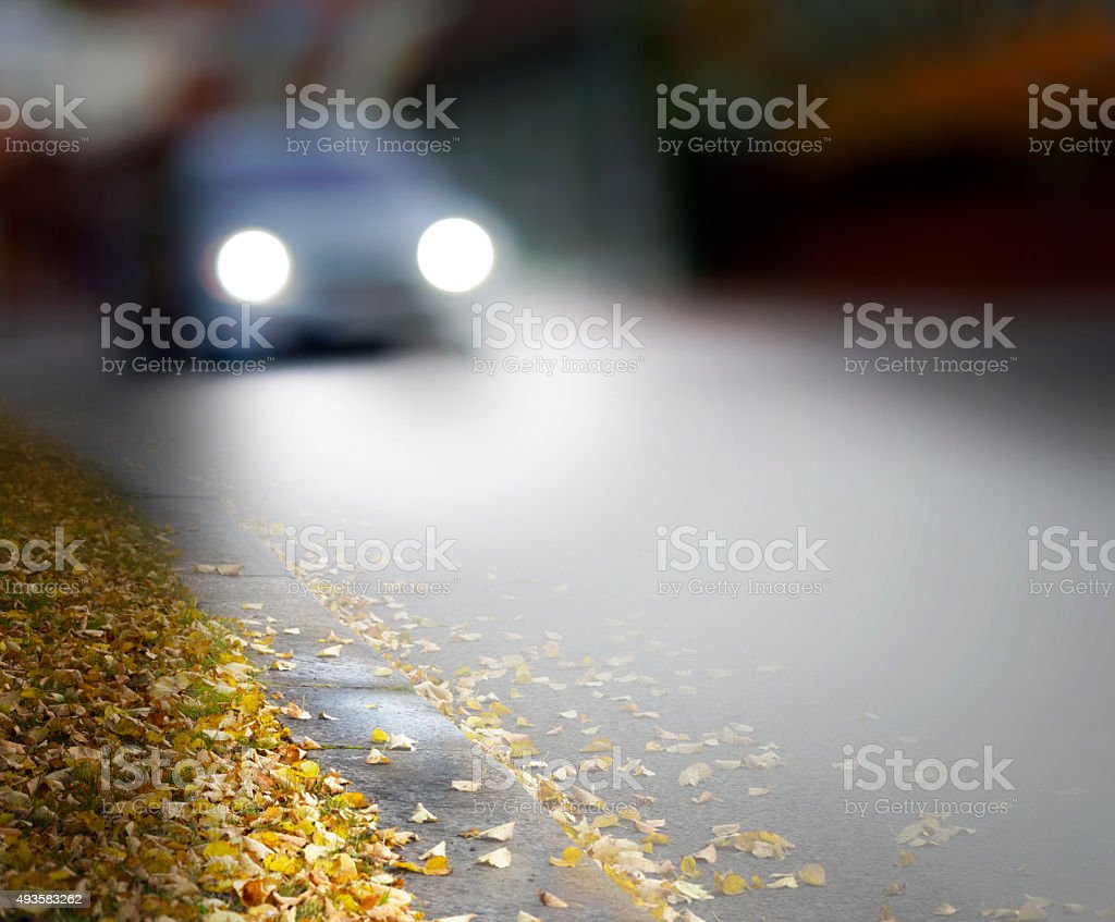 Car in autumn stock photo