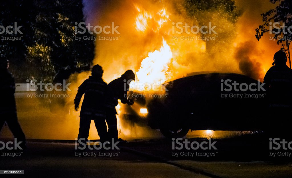 Car in flame stock photo