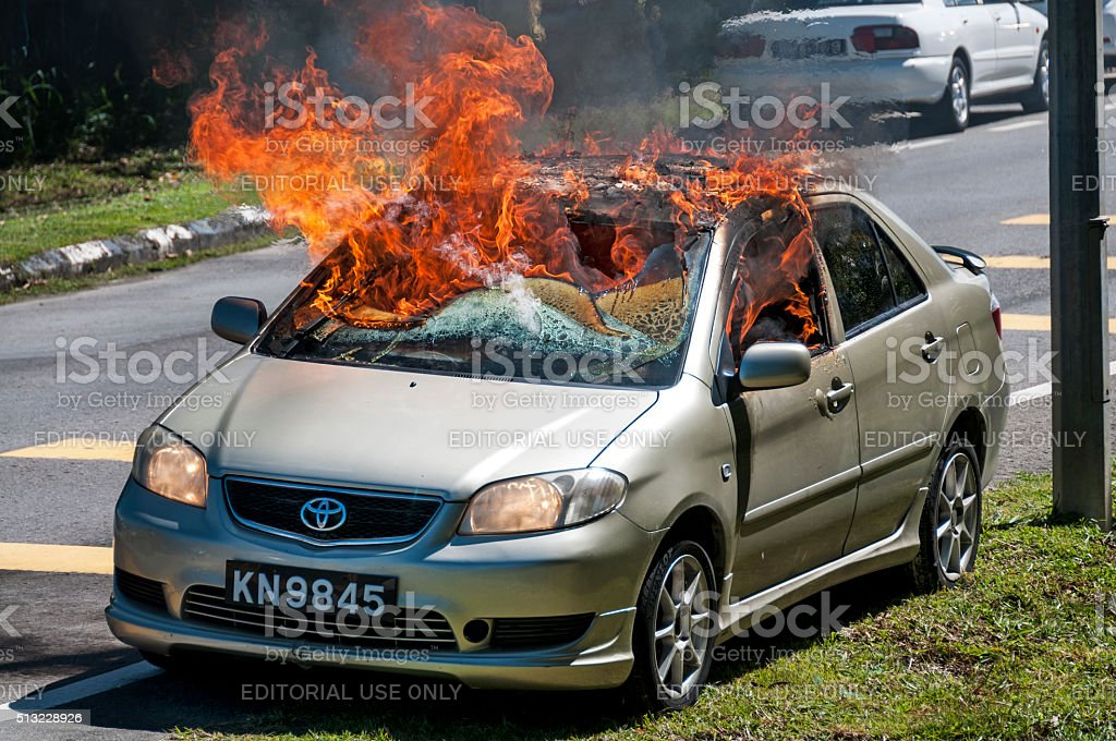 Car in Flames stock photo