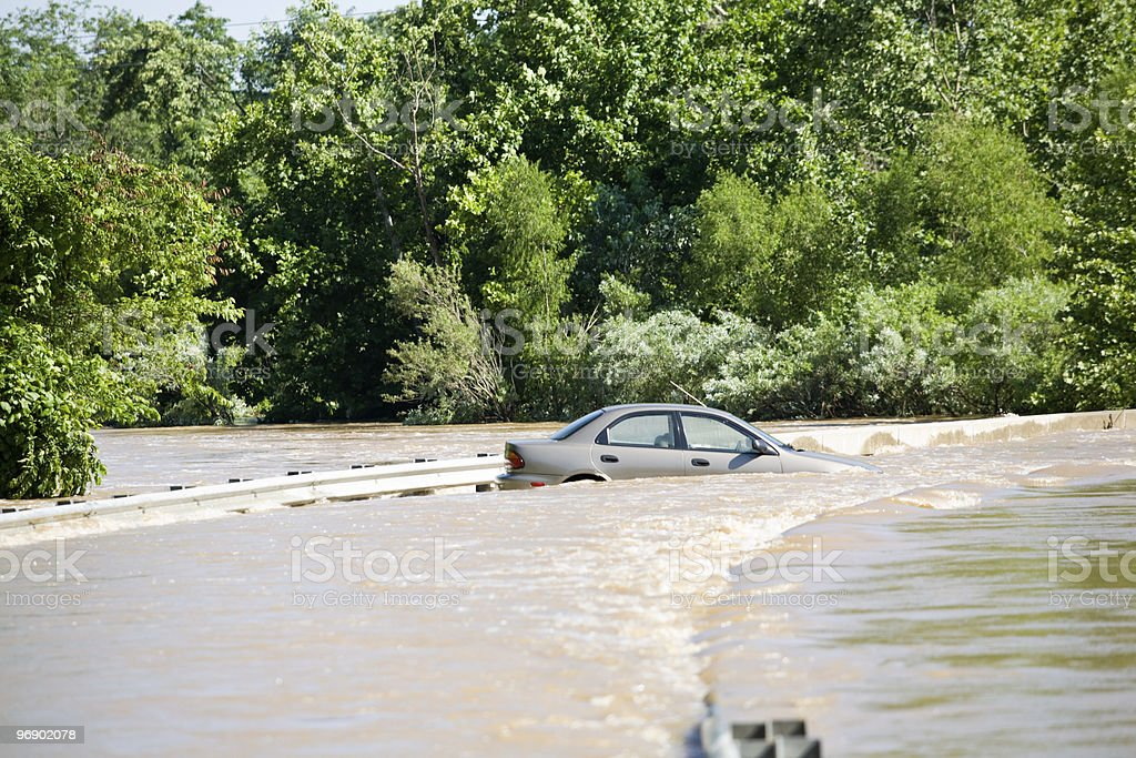 Car In Flooded River stock photo