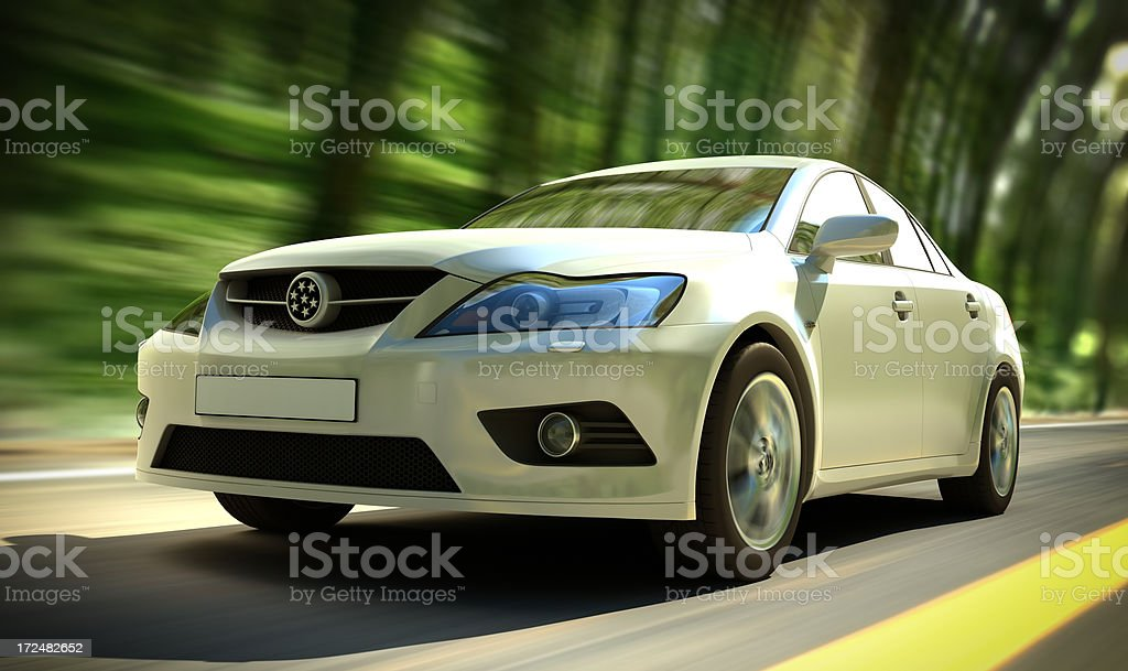 Car in forest stock photo