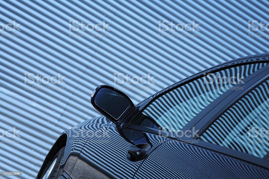 Car in Front of Parking Garage, Auto Repair, Service Door royalty-free stock photo