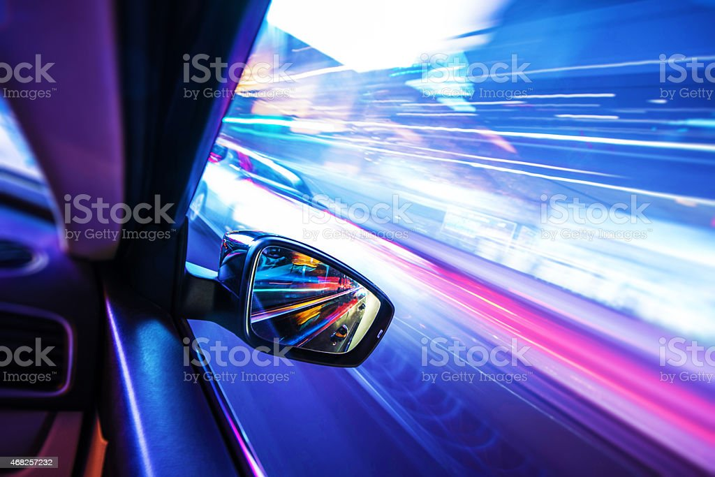 Car in Motion at Night stock photo