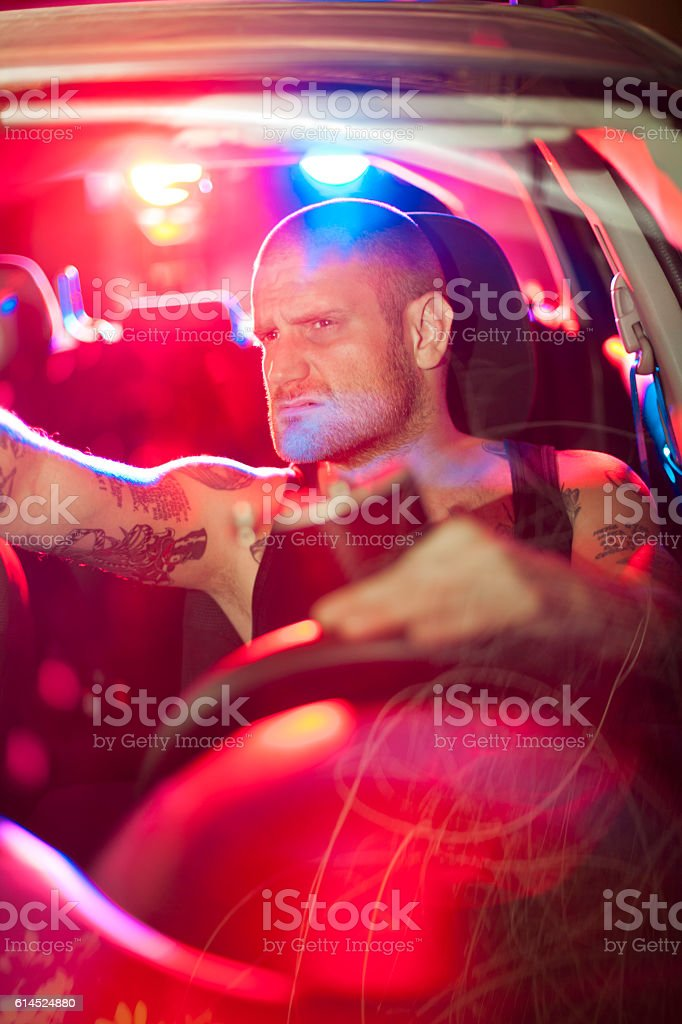 car in pursuit stock photo