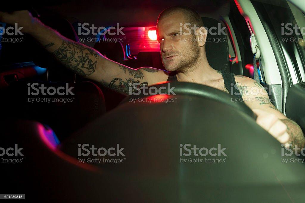 car in pursuit stock photo
