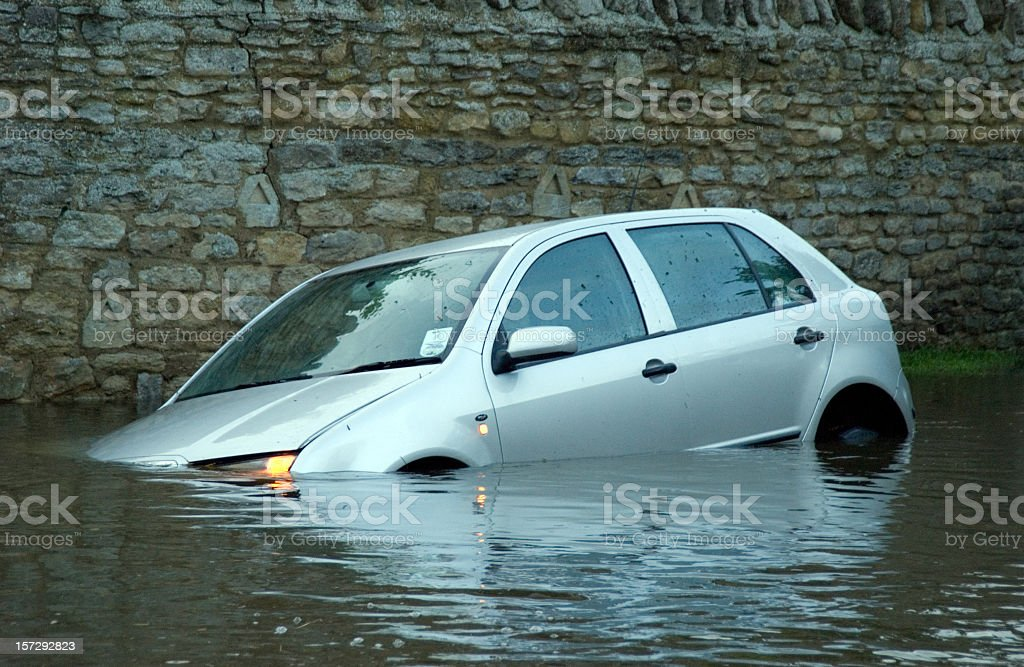 Car in rural Flooding royalty-free stock photo