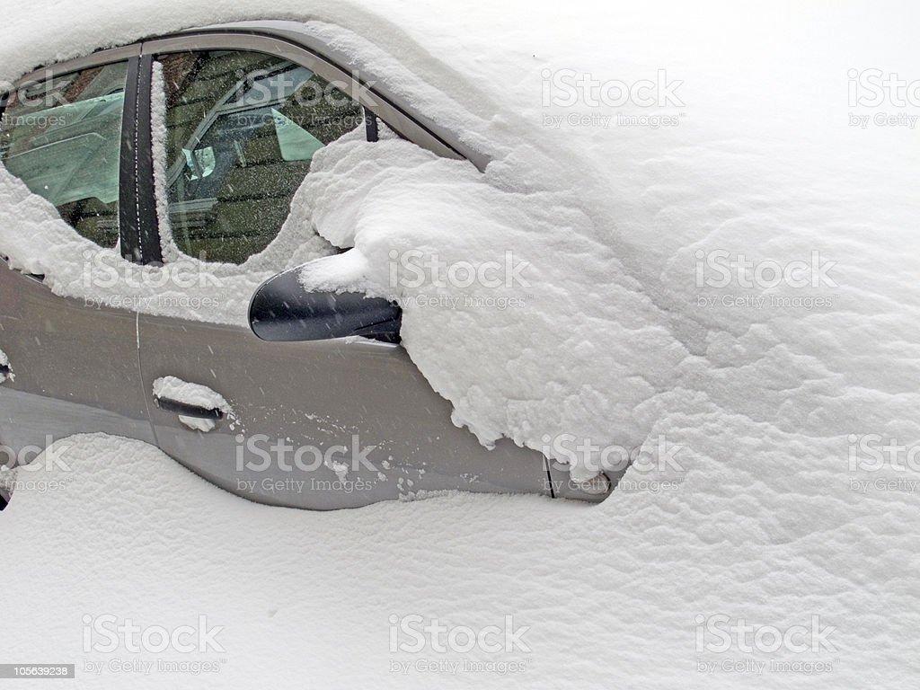 car in snow stock photo