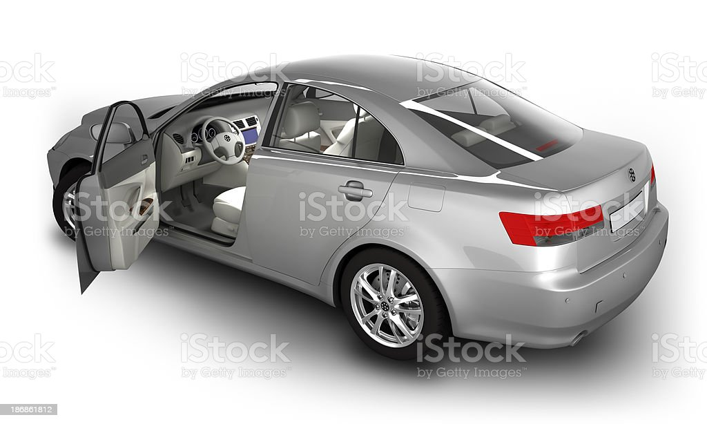 Car in studio - isolated on white with clipping path stock photo