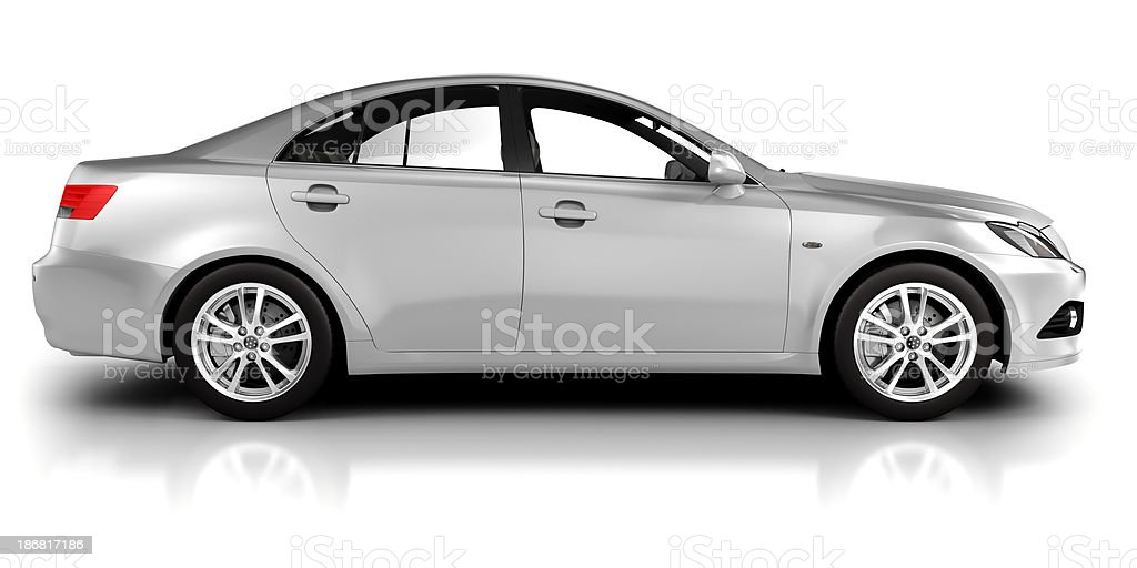 Car in studio side view - isolated on white stock photo