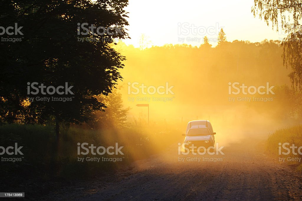 Car in the dust royalty-free stock photo