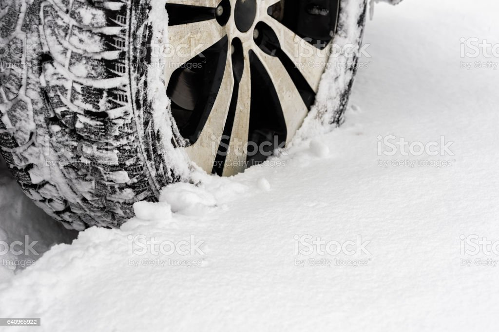 Car in the snow stock photo