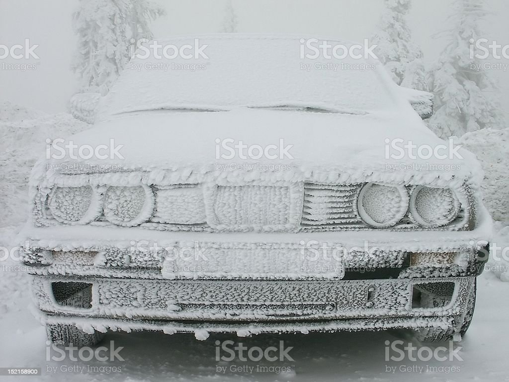 Car in the winter scenery royalty-free stock photo