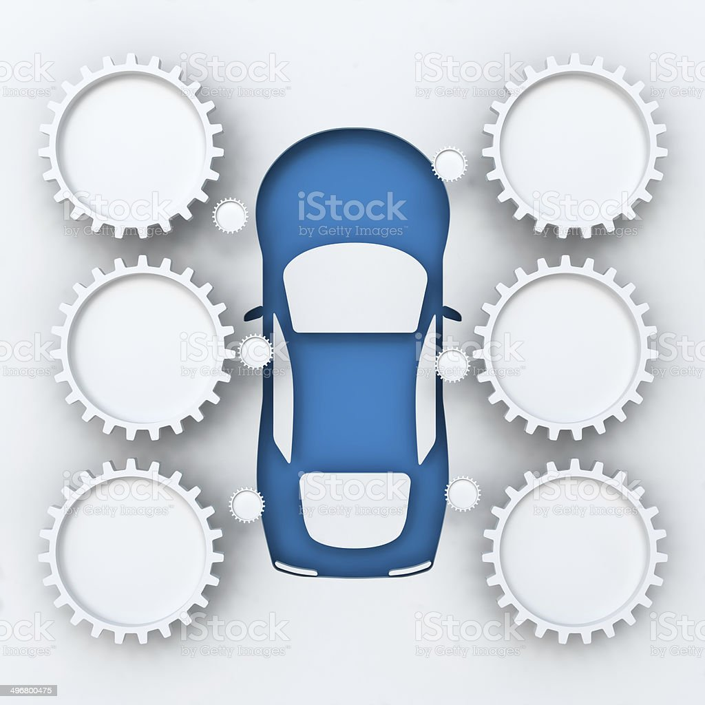 Car infographics with copyspace, 3d render stock photo