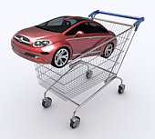 Car inside a shopping cart to illustrate buying a car