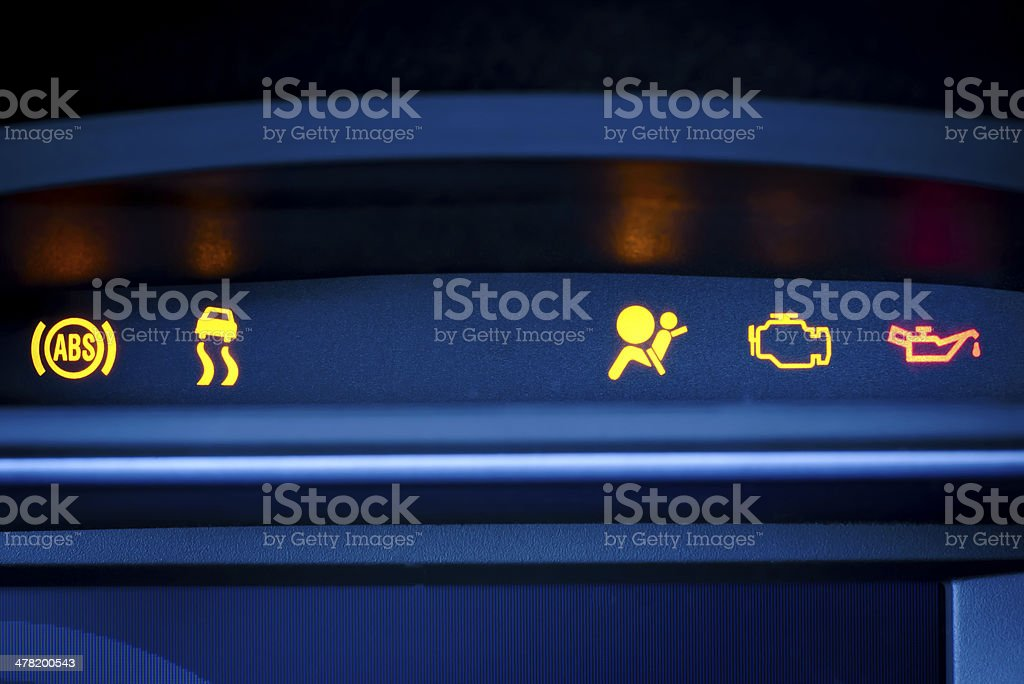 Car instrument cluster with visible malfunction  Indicator and warning lamp. stock photo