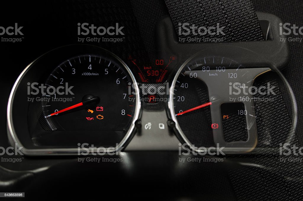 Car instrument panel Illuminated in night. stock photo