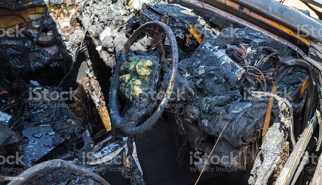 Car interior after fire stock photo