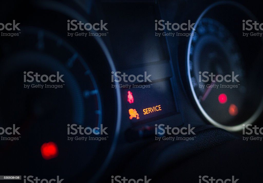 Car Interior Dashboard Warning Sign Service Stock Photo - Car sign on dashboard
