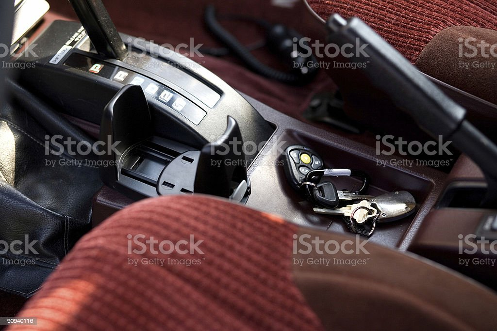 Car Interior with Keys Forgotten royalty-free stock photo