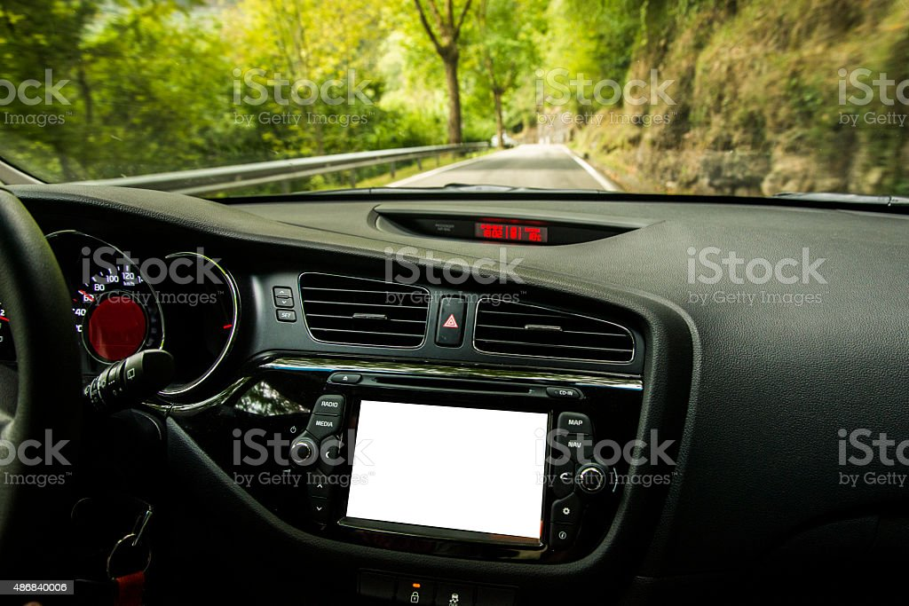 Car interior with screen stock photo