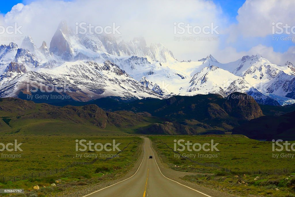 Car into Highway Road to El Chalten, Fitzroy, Patagonia Argentina stock photo