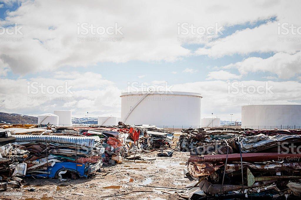 Car Junkyard in the Arctic, Nunavut, Canada. stock photo